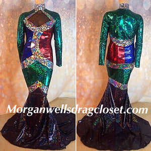 SAPHIRE RUBY AND EMERALD HOLOGRAM SPANDEX DRESS