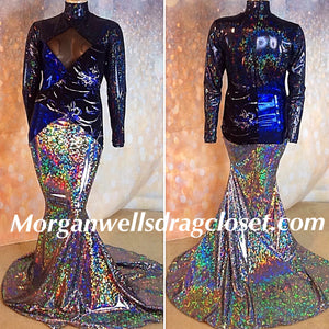 BLUE BLACK AND SILVER HOLOGRAM SPANDEX DRESS