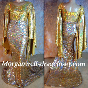 SEQUIN AND HOLOGRAM STRETCH DRESS IN GOLD