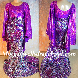 SEQUIN AND HOLOGRAM STRETCH DRESS IN PURPLE