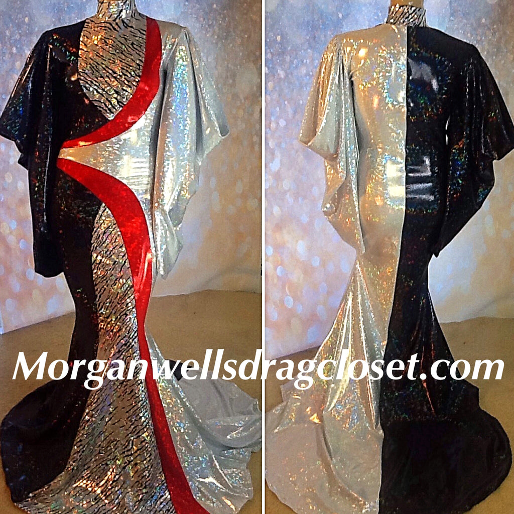 BEAUTIFUL BLACK WHITE AND RED HOLOGRAM DRESS