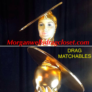 DRAG MATCHABLES GOLD SPANDEX FLYING SAUCER HEADPIECE