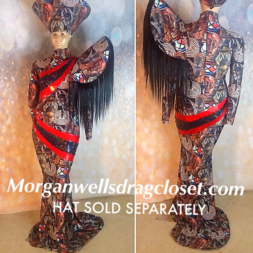 AFRICAN MASK PRINT AND HAIR TRIMMED DRESS