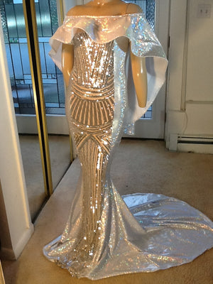SILVER HOLOGRAM AND SEQUIN CAPE SHOULDER SPARKLE STRETCH DRESS