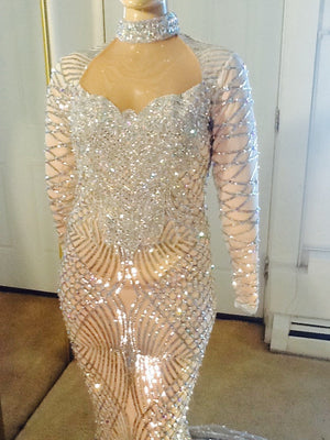 SILVER SEQUIN FULLY STONES EVENING GOWN (3 week Processing on this item)