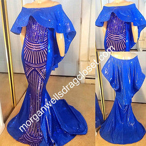 BLUE HOLOGRAM AND SEQUIN CAPE SHOULDER SPARKLE STRETCH DRESS