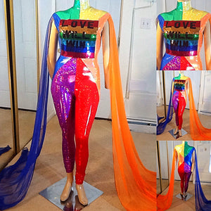 LOVE WILL WIN GAY PRIDE JUMPSUIT COSTUME