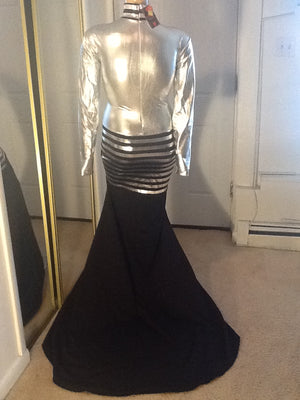 SILVER AND BLACK SPARKLE DRESS