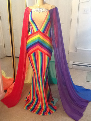 GAY PRIDE SHEER RAINBOW CAPE GOWN