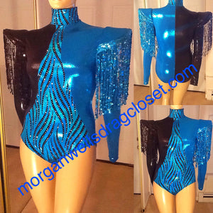 SEQUIN FRINGE TRIM DANCE LEOTARD IN TURQUOISE AND BLACK
