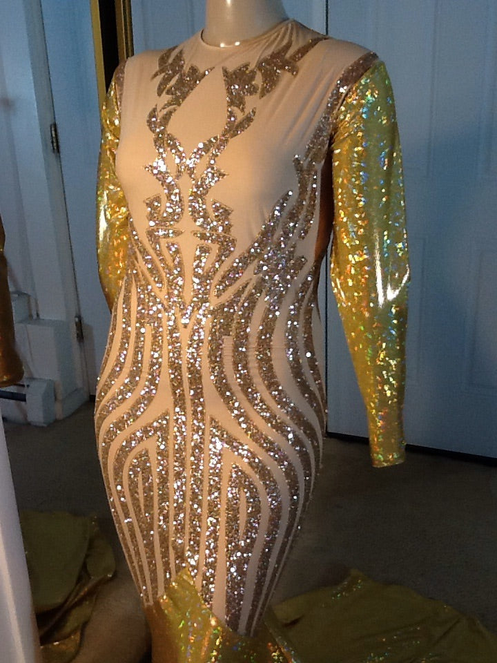 GOLD SPARKLE STRETCH DRESS
