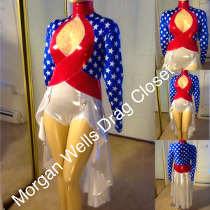 STARS AND STRIPES PATRIOTIC DANCE LEOTARD