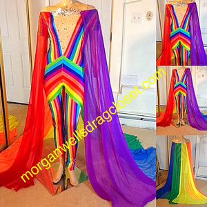 GAY PRIDE SHEER RAINBOW CAPE CATSUIT