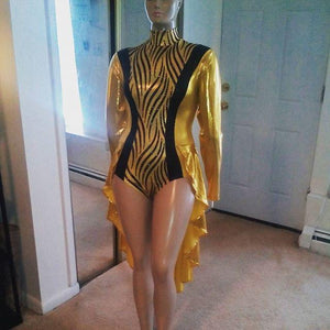 SWIRL GOLD AND BLACK HOLOGRAM DANCE LEOTARD!