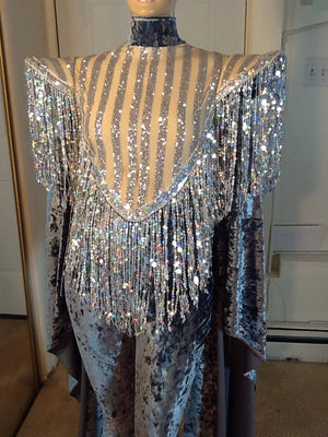 GREY VELVET AND SILVER SEQUIN TRIMMED LONG SLEEVE CATSUIT DANCE COSTUME!