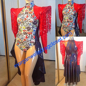 COMIC PRINT BLACK AND RED WITH SEQUIN FRINGE DANCE COSTUME