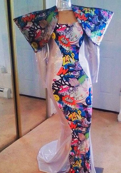 Graffiti Print Padded Sequin Shoulder Stretch Gown