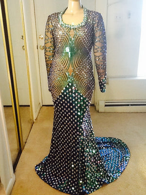 PEACOCK BLUE-GREEN SEQUIN FULLY STONED GOWN (3 week processing on this item)