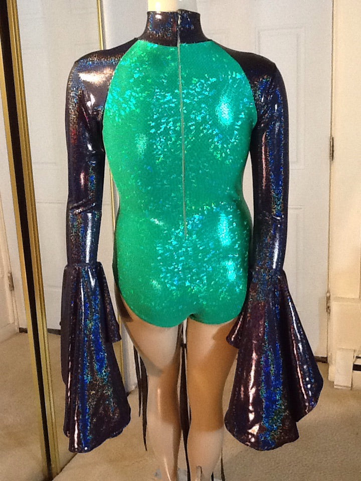 BLACK AND GREEN SEQUIN TRIMMED LEOTARD