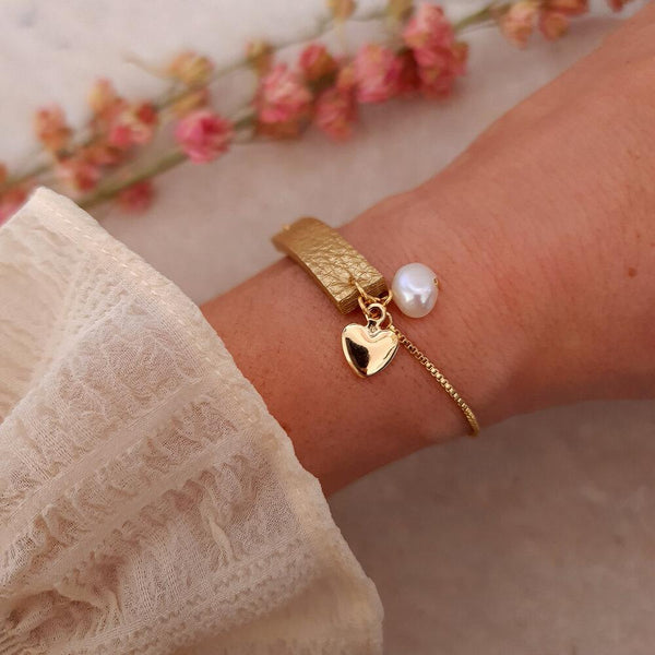 Gold leather and charm bracelet