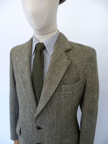 VINTAGE 1970s HARRIS TWEED BLAZER 40 SHORT