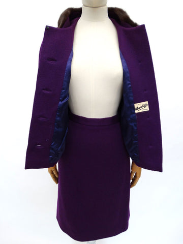 VINTAGE 1950s PURPLE WOOL SKIRT SUIT 12