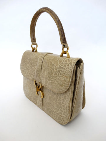 VINTAGE 1960s CROCODILE KELLY HANDBAG