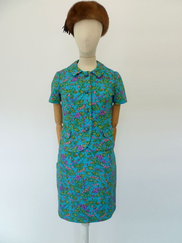 VINTAGE 1960s LIBERTY SKIRT SUIT 6 8