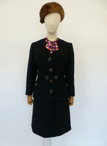 VINTAGE 1960s 1970s WOOL DRESS SUIT 12
