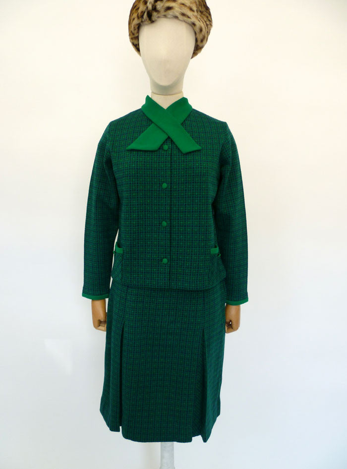 VINTAGE 1950s HARRODS CHECK SUIT 8 10