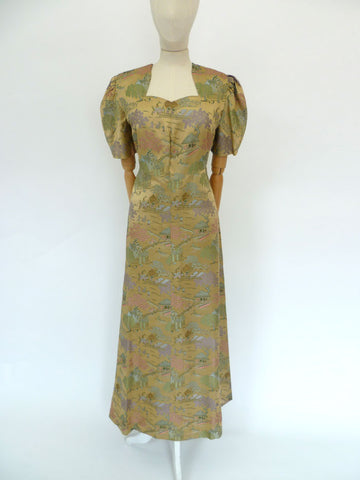 VINTAGE 40s SILK BROCADE DRESS 12 14