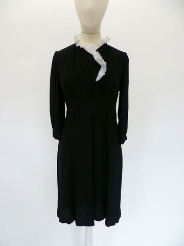 VINTAGE 1940s 1950s CREPE EVENING DRESS 8