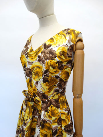VINTAGE 1950s FLORAL PEPLUM DRESS 10