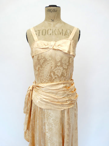 VINTAGE 40s DAMASK COCKTAIL DRESS 8