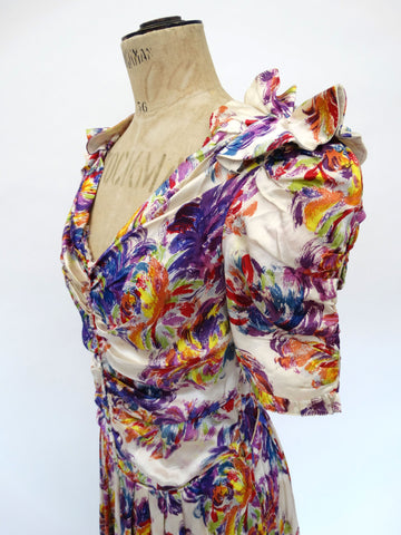 VINTAGE 30s PAINTED FLORAL DRESS 8