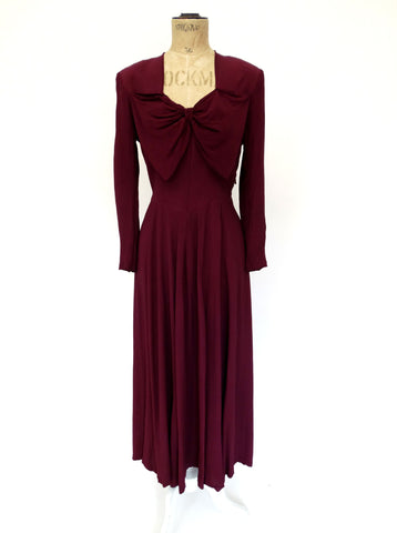 VINTAGE 30s 40s BOW CREPE DRESS 8 10