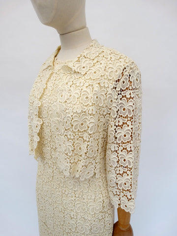 VINTAGE 1960s LACE WEDDING DRESS 10 12
