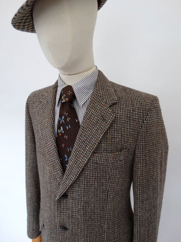 VINTAGE 1970s HARRIS TWEED BLAZER 42 SHORT