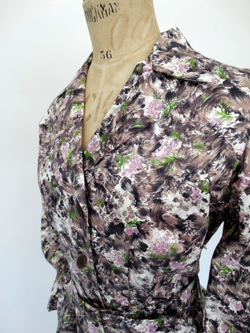 VINTAGE 40s WARTIME TEA DRESS 10 12