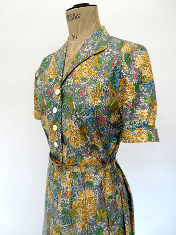 VINTAGE 40s SUMMER TEA DRESS 10