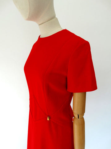 VINTAGE 1960s WOOL SCOOTER DRESS 12 14