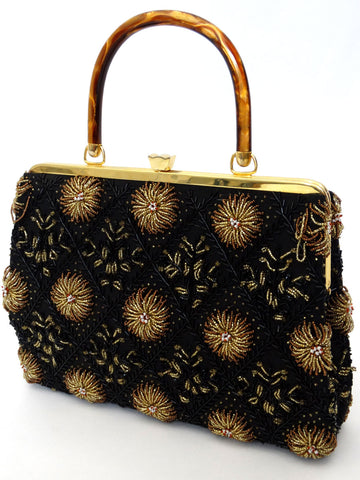 VINTAGE 1950s BEADED KELLY HANDBAG