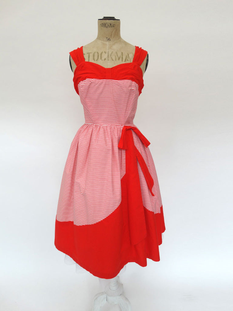 VINTAGE 1950s STRIPE SWING DRESS 8