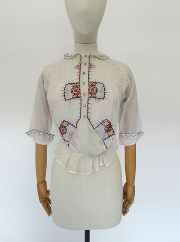 VINTAGE 1930s EMBROIDERED BLOUSE 6