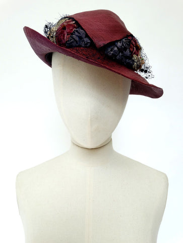 VINTAGE 1930s HORSEHAIR BRAID STRAW HAT