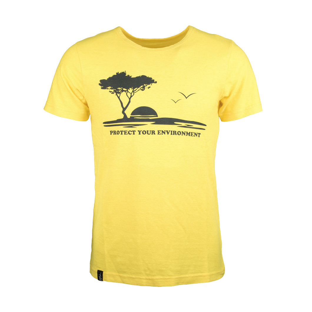 UpRise Hanf T-Shirt Protect Your Environment sunny yellow