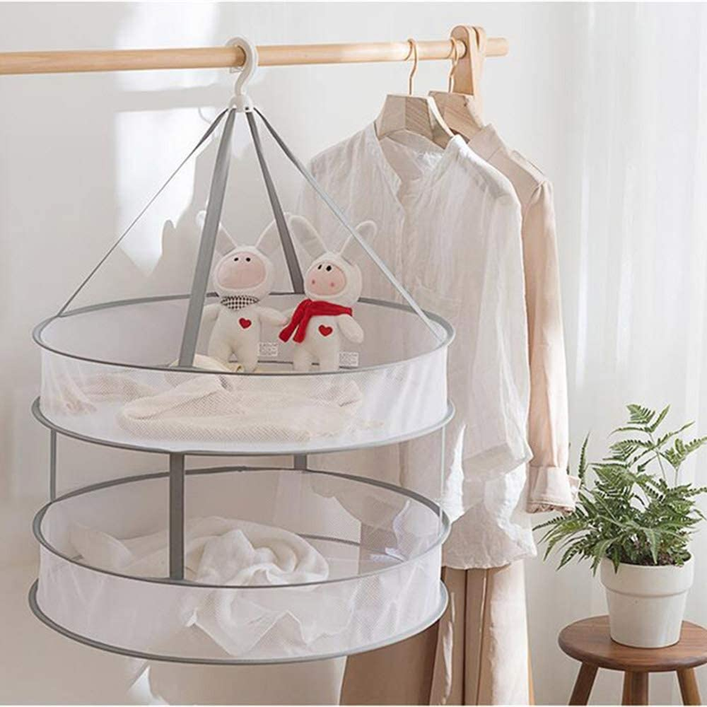 2-Tier 24-Inch Collapsible Hanging Laundry Rack