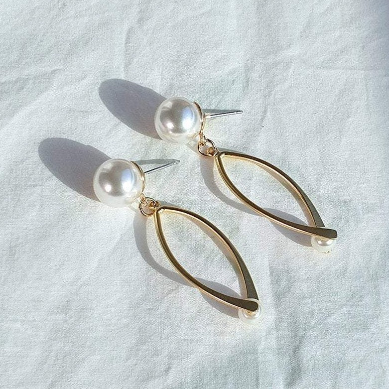 Pearl Point Drop Allergy-Free Titaium Earring Christmas Gift Birthday Gift #KC/_10025