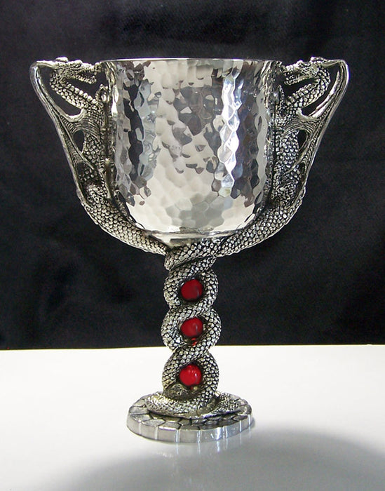 hammered pewter wine goblet with dragons on both sides and their tails twined together for stem and base outlined in gems.