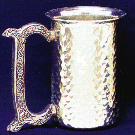 hammered pewter stein with celtic knot handle